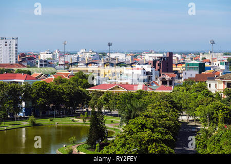 High view over park rooftops of modern buildings in Hue, Thua Thien-Hue Province, Vietnam, Asia - Stock Image