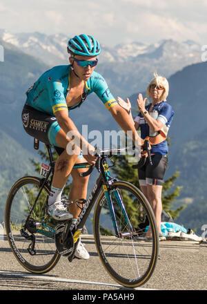 Michael VALGREN ANDERSEN  Pro Team Astana Tour de France 2018 cycling stage 11 La Rosiere Rhone Alpes Savoie France - Stock Image
