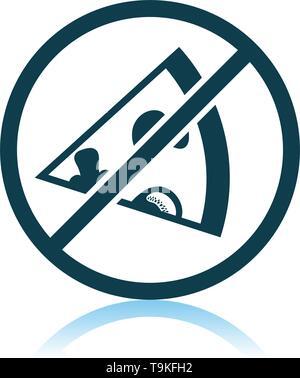 Prohibited Pizza Icon. Shadow Reflection Design. Vector Illustration. - Stock Image