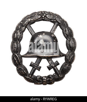 Word War One Wound Badge Isolated on White. - Stock Image