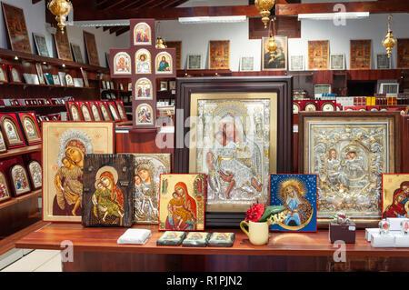 Icons in souvenir shop,  Kykkos Monastery, Kykkos, Troodos Mountains, Limassol District, Republic of Cyprus - Stock Image