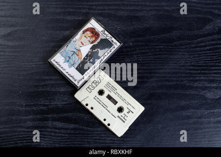 Cassette release of the late David Bowie's Scary Monsters - Stock Image