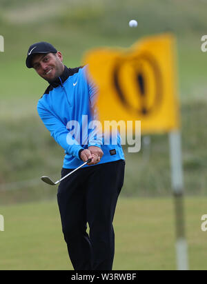 Portrush, Country Antrim, Northern Ireland. 17th July, 2019. The 148th Open Golf Championship, Royal Portrush Golf Club, Practice day; defending Open Champion Francesco Molinari (ITA) practices a pitch shot Credit: Action Plus Sports Images/Alamy Live News - Stock Image