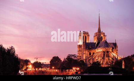 Notre Dame de Paris by Night - Stock Image