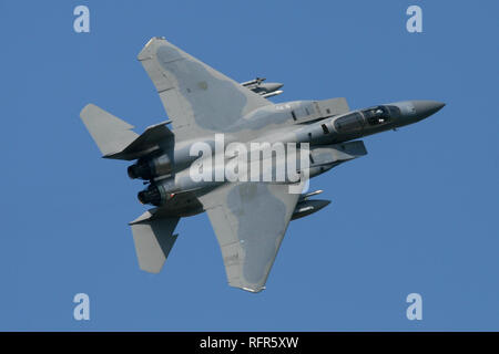 493rd F-15C Eagle overshooting RAF Coningsby and breaking into the circuit during a combined RAF/USAF exercise at the Lincolnshire airfield. - Stock Image