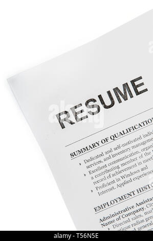 Resume rude paper document top view isolated with clipping path - Stock Image