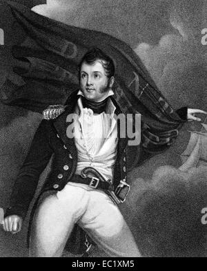 Oliver Hazard Perry (1785-1819) on engraving from 1835. American naval commander. - Stock Image
