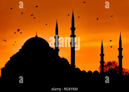 Silhouette of the Suleymaniye Mosque at sunset in Fatih, Istanbul, Turkey - Stock Image