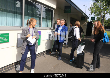 Wimbledon London UK. 18th June 2019. English Gardener and broadcaster Alan Titchmarsh seen arriving at the (AELTC) All England Lawn Tennis  Club with two remaining until the start of the Wimbledon Tennis championships  on 1 July 2019 - Stock Image