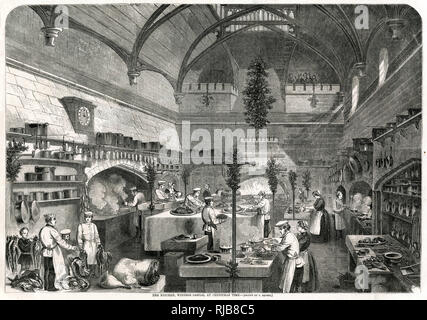 Christmas time at Windsor Castle, cooks preparing for the Royal banquet. - Stock Image