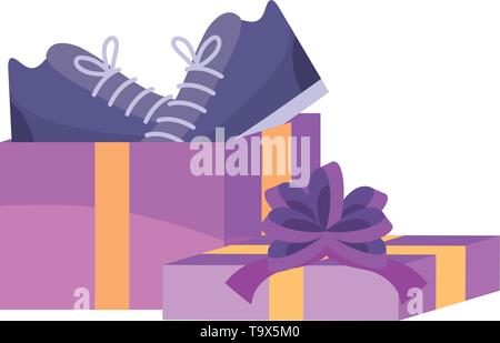 Gift and shoes design, Store shopping online ecommerce media market and internet theme Vector illustration - Stock Image