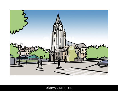 Illustration of the Abbey of Saint-Germain-des-PrŽs in Paris, France - Stock Image