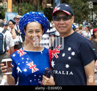 Two asian Australians celebrating Australia Day in Sydney 2013 - Stock Image