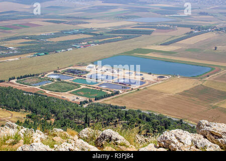 5 May 2018 A view of modern waste water treatmentment plant near Iskal in Israel from the Mount Precipice. Tradition has this as the place where an an - Stock Image