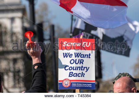 'We want our country back', protesters gathered in Parliament Square outside the Houses of Parliament in Westminster angry at the UK not having yet left the European Union despite the result of the Brexit referendum. Demonstrators feel that the UK government is not complying with the democratic vote of 17.4 million people, with many threatening violence should the poll vote not be complied with. They crowded the gates to Downing Street and to Parliament - Stock Image