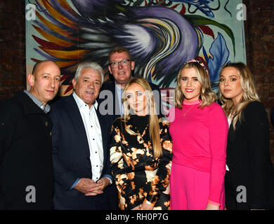 Manchester, UK. 31st January, 2019. left to right Mark Hamburger, owner and inovator of the Yard, Kevin Keegan, Councillor Nigel Murphy and MMU fasion student Morgan Allen, who also did some of the art work diplayed in The Yard, and Olivia Tudor, and Georgia Wilkinson Credit: Della Batchelor/Alamy Live News - Stock Image