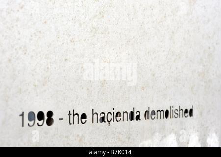 1998 the hacienda demolished metal hacienda memorial plaque factory records nightclub manchester uk england - Stock Image