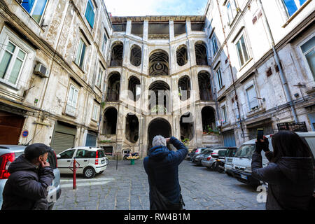 NAPLES, ITALY - JANUARY 24, 2019 - Sanfelice Palace is a Rococo or late-Baroque-style palace at Via Sanità in Rione Sanità in central Naples. - Stock Image