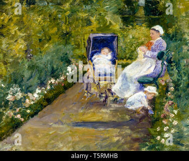 Mary Cassatt , Children in a Garden (The Nurse), painting, 1878 - Stock Image