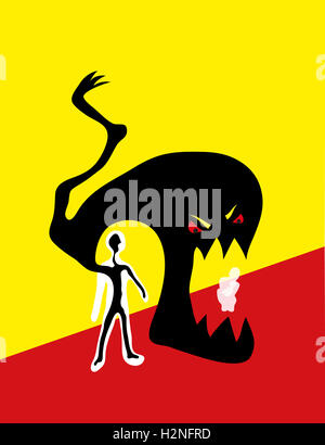 Domestic violence. Angry monster inside man threatens scared family. - Stock Image