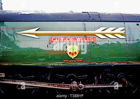 Bullied Pacific, West Country Class No 34092 City of Wells , nameplate detail, at Grosmont, North Yorkshire Moors Railway, England, 2nd April 2019 - Stock Image