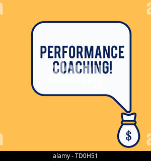 Word writing text Perforanalysisce Coaching. Business photo showcasing Facilitate the Development Point out the Good and Bad Isolated front view speec - Stock Image