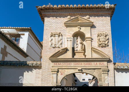 Entrance to Monasterio Santa Isabel la Real in the Albayzin, Granada, Granada Province, Andalusia, southern Spain.  The Alhambra, Generalife and Albay - Stock Image