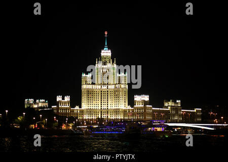 Architecture of the capital of Russia at night with bright illumination - Stock Image