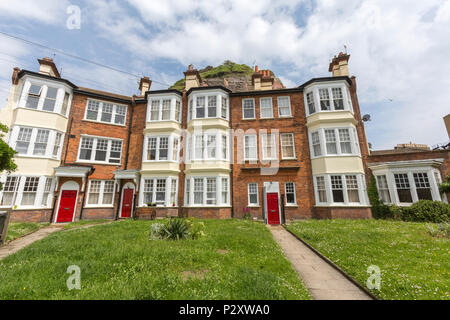 Terrace houses in Castle Gardens, Hastings, East Sussex, England , UK - Stock Image