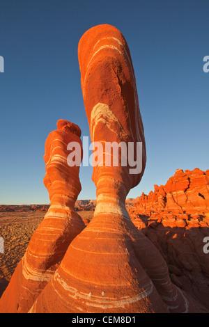 Sandstone, hoodoos, rock formations, near Ward Terrace, Navajo Nation, Coconino County, Arizona, USA - Stock Image