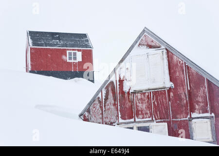 Houses in snow, Tasiilaq, Greenland - Stock Image