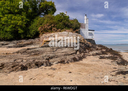 House by the sea at Penrhos Coastal Park, Anglesey, North Wales - Stock Image
