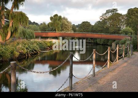 Jarrold Bridge footbridge crossing the river Wensum, Norwich, UK - Stock Image