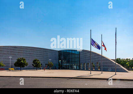 Exploration place, a museum and science center attraction located on the Arkansas river in Wichita, Kansas, USA. - Stock Image