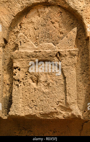 Detail of carving at Tombs of the Kings, Paphos, Cyprus October 2018 - Stock Image