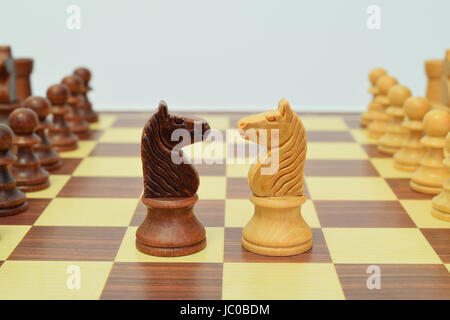 knight in the center of the chessboard in a challenging attitude - Stock Image