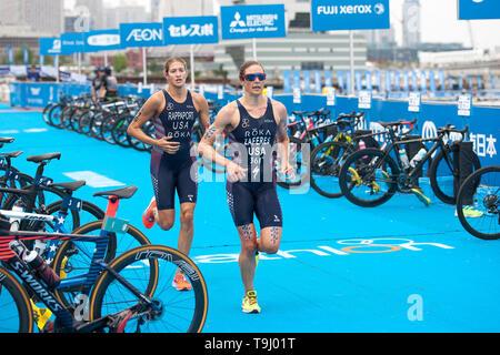 Yokohama, Japan. 18th May, 2019. 2019 ITU World Triathlon, World Paratriathlon Yokohama at Yamashita Park and Minato Mirai, Yokohama. Zaferes, Rappaport (Photos by Michael Steinebach/AFLO) Credit: Aflo Co. Ltd./Alamy Live News - Stock Image