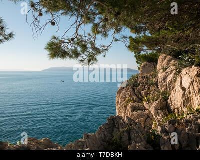 Rocky coastline landscape on Croatian shore - Stock Image