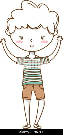 Stylish boy blushing cartoon outfit shorts stripped tshirt hands up  isolated vector illustration graphic design - Stock Image