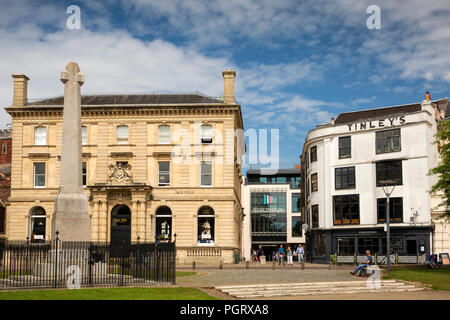 UK, England, Devon, Exeter, Cathedral Yard, exit to High Street and Guildhall Shopping Centre - Stock Image