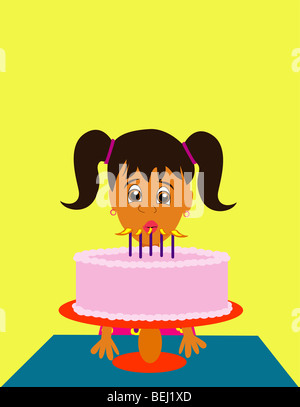 Girl blowing out birthday candles, illustration - Stock Image