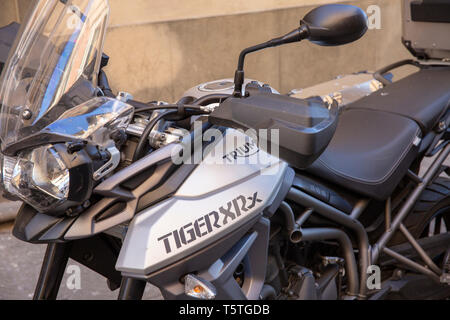 Triumph Tiger XR motorbike in grey colour parked in Florence,Tuscany,Italy - Stock Image