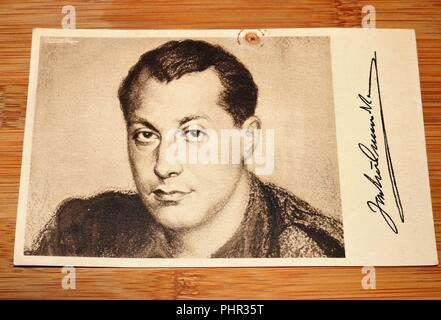 Vintage Black and White Postcard showing man and signature - Stock Image