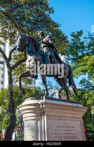 Statue of Simon Bolivar in Simon Bolivar Park, Medellin, Colombia - Stock Image