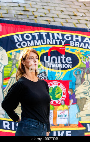 Gloria De Piero at a Labour Party rally with Jemery Corbyn in Broxtowe, Nottingham, UK - Stock Image