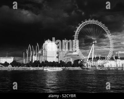 London eye and South bank, London - Stock Image
