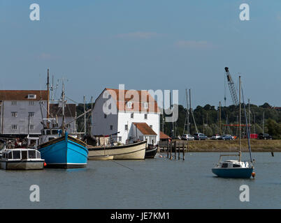 The Waterfront at Woodbridge with its Tide Mill, on the Picturesque River Deben, Woodbridge, Suffolk, England, UK - Stock Image