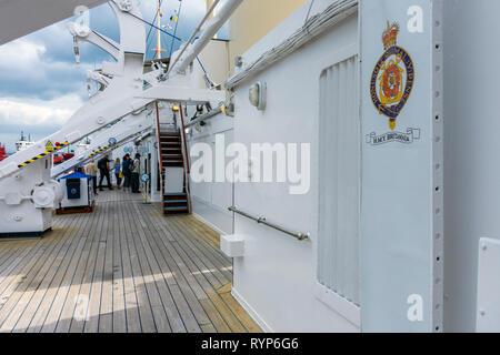 Upper Deck of the Royal Yacht Britannia, Port of Leith, Edinburgh, Scotland, UK - Stock Image
