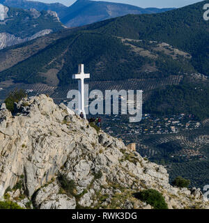 Cross at Santa Catalina Castle overlooking Jaen City; Jaen, Andalusia, Spain - Stock Image