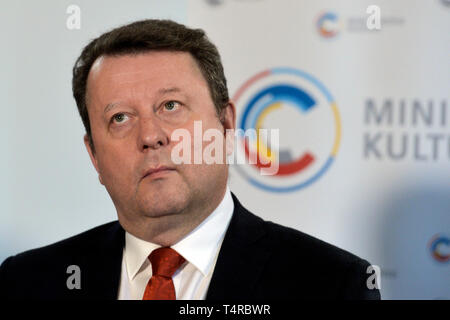 Prague, Czech Republic. 18th Apr, 2019. Czech Culture Minister Antonin Stanek (junior government Social Democrats, CSSD), pictured, dismissed National Gallery Prague (NGP) director Jiri Fajt and Olomouc Art Museum head Michal Soukup today after reviews in these institutions, Stanek has told reporters in Prague, Czech Republic, April 18, 2019. Credit: Michaela Rihova/CTK Photo/Alamy Live News - Stock Image